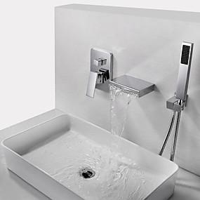 رخيصةأون تسوق حسب الغرفة-حنفية حوض الاستحمام - معاصر الكروم مثبت على الحائط صمام نحاسي أصفر Bath Shower Mixer Taps / النحاس / التعامل مع واحد ثلاثة ثقوب