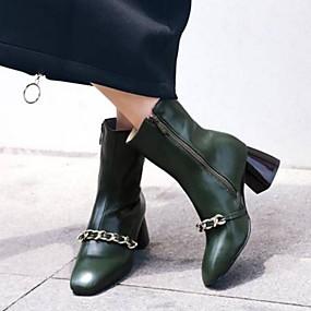billige Mote Boots-Dame Støvler Tykk hæl Lukket Tå PU Støvletter Komfort / Trendy støvler Høst vinter Svart / Militærgrønn / Beige