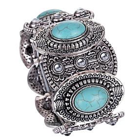 abordables Bracelet Vintage-Bracelets Vintage Large bracelet Femme Le style rétro Turquoise Flower Shape Gros Fantaisie dames Luxe Rétro Vintage style occidental Bracelet Bijoux Turquoise Forme de Cercle Irrégulier pour Cadeau