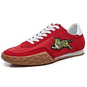 baratos Tênis Masculino-Homens Sapatos Confortáveis Tecido elástico Primavera Vintage / Casual Tênis Não escorregar Preto / Vermelho