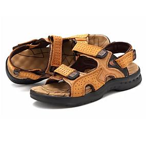 voordelige Wijdere maten schoenen-Heren Comfort schoenen PU Zomer Informeel Sandalen Zwart / Geel / Bruin