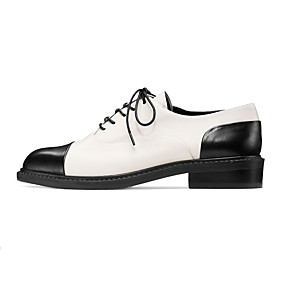 cheap Women's Oxfords-Women's Leather Shoes Nappa Leather Spring &  Fall British / Preppy Oxfords Chunky Heel Round Toe Black / Black / White / Party & Evening / Color Block