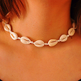 cheap Essential Accessorices For Every Ladies-Girls' Choker Necklace Handmade Beach Theme Personalized European Fashion Euramerican Cowry Shell Cowrie Shell White Necklace Jewelry For Daily Casual Bikini