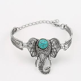 baratos Pulseiras Vintage-Mulheres Turquesa Bracelete Fashion Elefante senhoras Clássico estilo ocidental Liga Pulseira de jóias Prata Para Diário