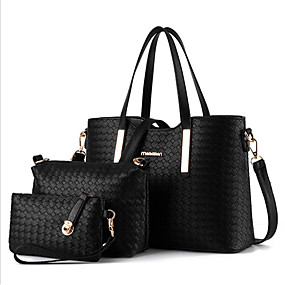 Women S Bags Polyester Bag Set 3 Pcs Purse Zipper Black Silver Wine