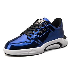 baratos Sapatos Esportivos Masculinos-Homens Sapatos Confortáveis Couro Envernizado Primavera / Outono Esportivo / Casual Tênis Caminhada Não escorregar Preto / Azul / Cinzento / Use prova