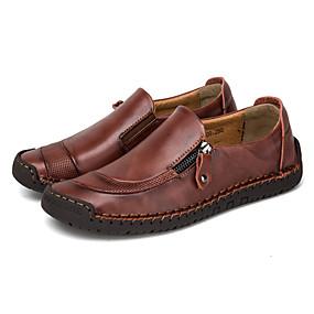 voordelige Wijdere maten schoenen-Heren Comfort schoenen Leer Lente & Herfst Loafers & Slip-Ons Non-uitglijden Zwart / Lichtbruin / Donker Bruin / ulko- / Rijdende schoenen / EU42