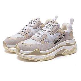 povoljno Glomazne tenisice-Žene Sneakers Udobne cipele Ravna potpetica Trg Toe Brušena koža / Koža Jesen Crn / Bijela / Zelen