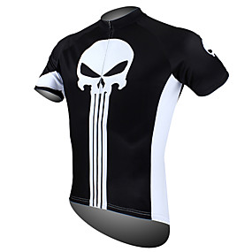 cheap Wanna Train Your Dragon? Be a VIKING First!-ILPALADINO Men's Short Sleeve Cycling Jersey - Black / White Skull Bike Jersey Top Breathable Quick Dry Ultraviolet Resistant Sports 100% Polyester Mountain Bike MTB Road Bike Cycling Clothing Apparel