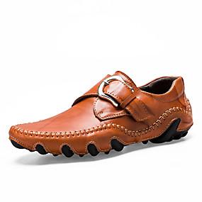 voordelige Wijdere maten schoenen-Heren Comfort schoenen Leer / Synthetisch Lente zomer Loafers & Slip-Ons Zwart / Bruin / Geel