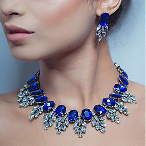 cheap Essential Accessorices For Every Ladies-Women's Multicolor Sapphire Cubic Zirconia Oval Cut Jewelry Set Rhinestone Leaf Ladies, Luxury, Elegant Include Drop Earrings Necklace Dark Yellow / Red / Blue For Wedding Party Masquerade Engagement