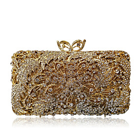 cheap Shoes & Bags-Women's Bags Alloy Evening Bag Crystals / Hollow-out Solid Color Gold / Silver / Rhinestone Crystal Evening Bags / Rhinestone Crystal Evening Bags / Fall & Winter