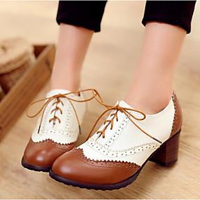 voordelige Dames Oxfords-Dames Comfort schoenen PU Zomer Oxfords Blok hiel Zwart / Bruin / Dagelijks