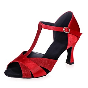 79e4d1adb36e Γυναικεία Παπούτσια χορού λάτιν Σατέν / Συνθετικά Πέδιλα Αγκράφα Τακούνι  καμπάνα Παπούτσια Χορού Ασημί / Καφέ / Κόκκινο