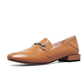 105caf3fc9d Women s Comfort Shoes Nappa Leather Summer Loafers   Slip-Ons Flat Heel  Black   Beige   Light Brown