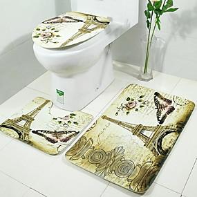 رخيصةأون سجاد-3 قطعات الحديث مماسح الحمام 100g / m2 البوليستر الإمتداد حك خلّاق مستطيل حمام جميل