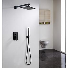 povoljno Slavine-Slavina za tuš - Tradicionalno Slikano završi Zidne slavine Keramičke ventila Bath Shower Mixer Taps / Brass / Jedan obrađuju tri rupe