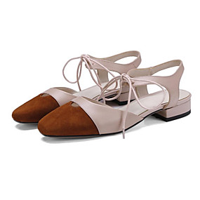 628f470eaf Mulheres Sapatos Confortáveis Camurça Verão Tamancos e Mules Salto de bloco  Preto   Rosa claro   Amêndoa