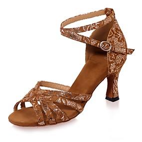263925f55168 Γυναικεία Παπούτσια χορού λάτιν Σουέτ Πέδιλα Αγκράφα Τακούνι καμπάνα  Παπούτσια Χορού Μαύρο / Καφέ / Μαύρο και Χρυσό