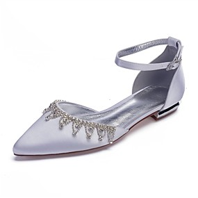 e06f4d8c02fdb Women s Comfort Shoes Satin Spring   Summer Sweet Wedding Shoes Flat Heel  Pointed Toe Sparkling Glitter   Tassel Burgundy   Champagne   Ivory   Party    ...