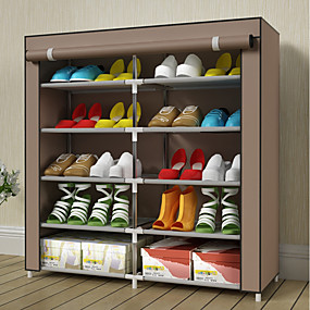 baratos Sapateiras & Cabides de Sapato-Sapateiras & Cabides Tecido Oxford 20 pares Unisexo Marron / Roxo / # Vinho Tinto (Anti-Rugas)