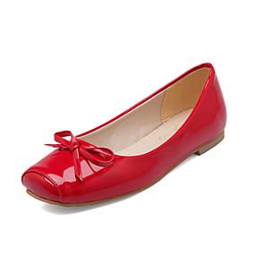 voordelige Damesschoenen met platte hak-Dames Lakleer Lente zomer Informeel / Brits Platte schoenen Platte hak Vierkante Teen Strik Zwart / Beige / Rood