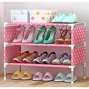 baratos Sapateiras & Cabides de Sapato-Sapateiras & Cabides Nãotecidos 4 Níveis Unisexo Rosa / Amarelo / # Vinho Tinto (Anti-Rugas)