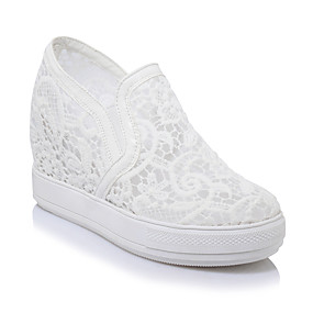 voordelige Damesinstappers & loafers-Dames Netstof Lente & Herfst Informeel / Studentikoos Loafers & Slip-Ons Sleehak Ronde Teen Wit / Zwart / Roze