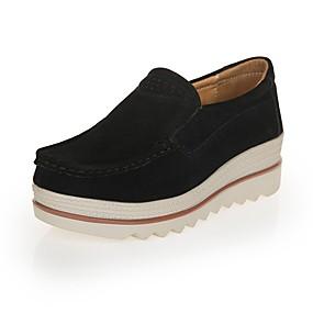 voordelige Damesinstappers & loafers-Dames Leer Lente zomer Informeel Loafers & Slip-Ons Creepers Ronde Teen Rood / Blauw / Amandel