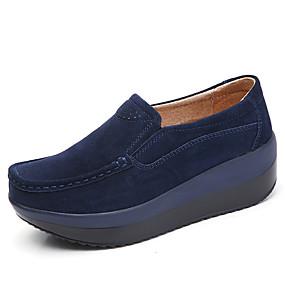 olcso Női topánkák és vászoncipők-Női Bőr Tavaszi nyár Alkalmi Papucsok & Balerinacipők Tipegők Kerek orrú Zöld / Kék / Mandula