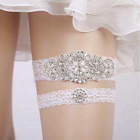 billige Strømpebånd til bryllup-Blonder Bryllup Bryllupsklær Med Blonde-trimmet Bunn / Strikk / Krystall / Rhinestone Strømpebånd Bryllup