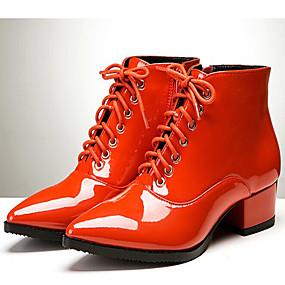 billige Mote Boots-Dame Lakklær Høst vinter Britisk Støvler Tykk hæl Spisstå Ankelstøvler Svart / Oransje / Fest / aften