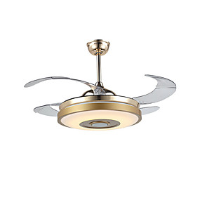hesapli Tavan Fanları-QINGMING® Tavan pervanesi Ortam Işığı Eloktrize Kaplama Metal LED, Bluetooth Kontrolü 110-120V / 220-240V Çok Renkli