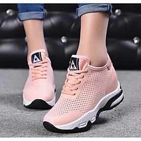 baratos Sapatos Esportivos Femininos-Mulheres Tênis Calcanhar escondido Com Transparência Corrida Verão Preto / Branco / Rosa claro
