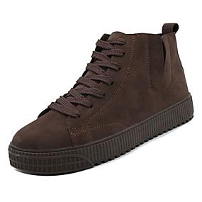 baratos Tênis Masculino-Homens Sapatos Confortáveis Couro Ecológico Primavera Casual Tênis Respirável Preto / Castanho Escuro / Verde Escuro