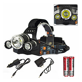cheap Flashlights & Camping Lanterns-Headlamps LED Emitters 6000 lm 1 Mode with Charger with Batteries and Charger Zoomable Waterproof Rechargeable Camping / Hiking / Caving Everyday Use Diving / Boating Black