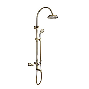 cheap Shop by Room-Shower Faucet - Art Deco / Retro Ti-PVD Wall Mounted Ceramic Valve Bath Shower Mixer Taps / Brass / Two Handles Three Holes