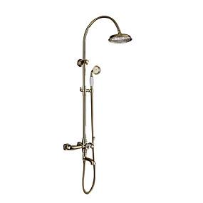 رخيصةأون تسوق حسب الغرفة-حنفية دش - آرت ديكو / ريترو Ti-PVD مثبت على الحائط صمام سيراميكي Bath Shower Mixer Taps / النحاس / مقبضين ثلاثة ثقوب