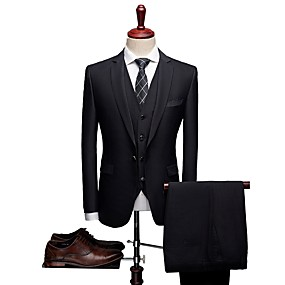 رخيصةأون Prom Suits-منقوشة قالب مثالي صوف / بوليستر دعوى - حز Single Breasted One-button / Single Breasted Two-button / بدلة