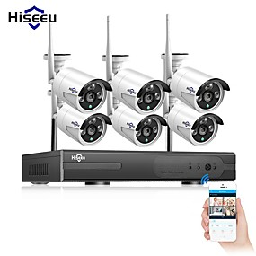 cheap Security Systems-Hiseeu® 8CH wireless CCTV Camera System 6pcs 1080P wifi IP Camera Outdoor Home Security Video Surveillance System NVR kit