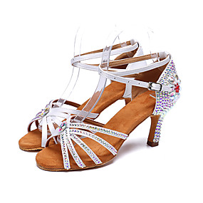 cheap New Arrivals-Women's Latin Shoes Satin Heel Sparkling Glitter / Buckle / Crystals Flared Heel Customizable Dance Shoes White