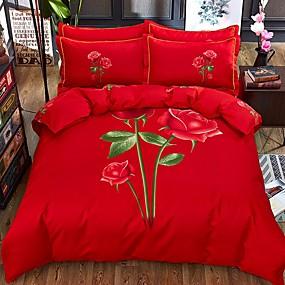 billige Blomstrete dynetrekk-Sengesett Blomstret / Moderne Polyester / Viscose Reaktivt Trykk 4 delerBedding Sets