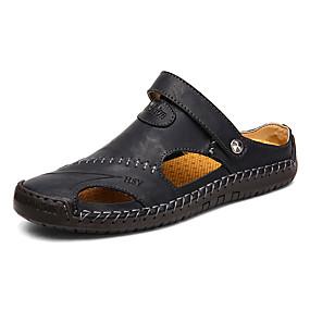 6333d2a20efedd Men s Comfort Shoes Leather Spring   Summer British   Preppy Sandals  Breathable Black   Brown