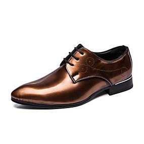 baratos Oxfords Masculinos-Homens Sapatos Confortáveis Couro Envernizado Primavera Verão Casual Oxfords Não escorregar Estampa Colorida Marron / Vermelho / Azul