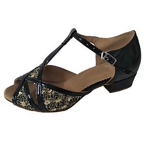 cheap New Arrivals-Women's Latin Shoes PU(Polyurethane) Sandal Sparkling Glitter Thick Heel Customizable Dance Shoes Black / Bronze / Black / Gold