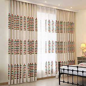 cheap Kids Curtains-Country Privacy Two Panels Study Room / Office   Curtains / Embroidery