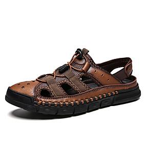 baratos Sandálias Masculinas-Homens Sapatos de couro Pele Napa Verão Casual Sandálias Não escorregar Preto / Marron / Castanho Escuro