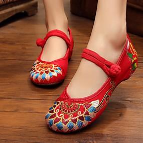 voordelige Damesschoenen met platte hak-Dames Canvas Lente Platte schoenen Platte hak Zwart / Rood / Groen