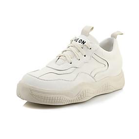 baratos Sapatos Esportivos Femininos-Mulheres Couro Ecológico Primavera & Outono Colegial / Minimalismo Tênis Caminhada Plataforma Ponta Redonda Branco / Preto / Bege