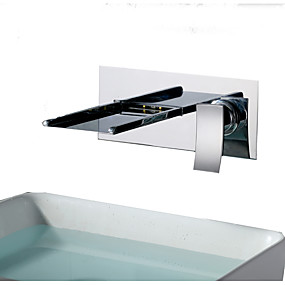 abordables Offres de la Semaine-Robinet lavabo - Jet pluie / LED Chrome Installation Murale Mitigeur deux trousBath Taps